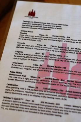 NS wine menu