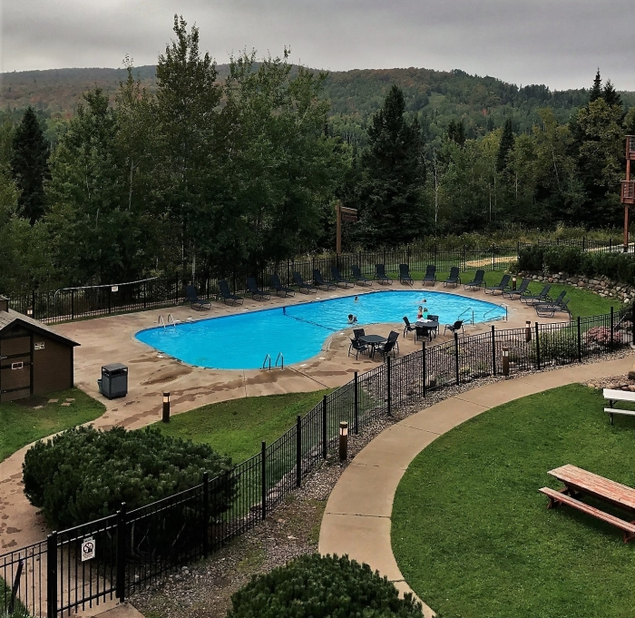 Outdoor pool at Caribou Highlands from 142C balcony, www.FromLutsenwithLove.com
