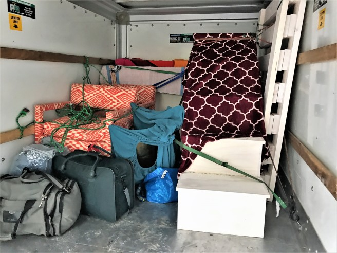 Larger bunk bed pieces and other essentials loaded and ready to go!