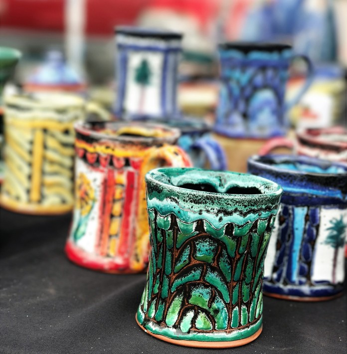 So many mugs - it's hard to choose! The lovely work of Joan Farnam, Talking Clay Pottery