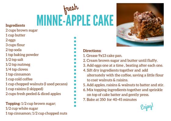 Fresh Minne-Apple Cake, www.FromLutsenwithLove.com
