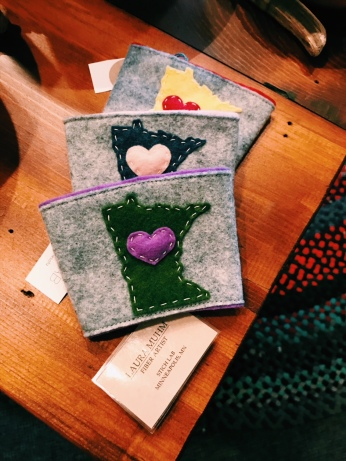 Felted coffee cozies from Stitch Lab!